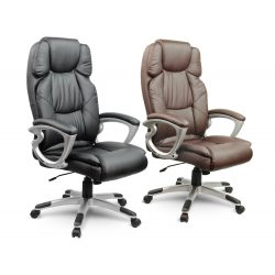 Komfortowy skórzany fotel obrotowy z wysokim oparciem dla prezesa