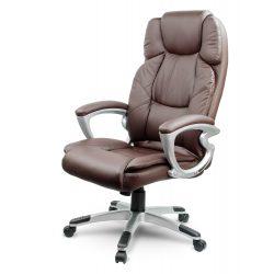 Komfortowy skórzany fotel obrotowy z wysokim oparciem dla prezesa miękki