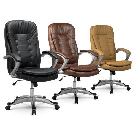 Komfortowy skórzany fotel obrotowy z miękkiej ekoskóry EXCLUSIVE