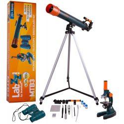 Zestaw dziecięcy małego odkrywcy mikroskop teleskop i lornetka Levenhuk LabZZ MTB3