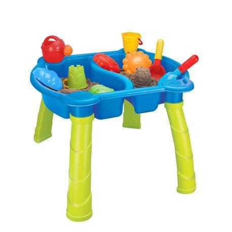 Piaskownia stolik na nogach zabawki i foremki zestaw dla dziecka
