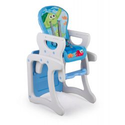 Krzesełko do karmienia 3W1 Teri szaro - niebieskie krzesło i stolik dla dzieci pasy bezpieczeństwa regulacja