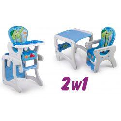 Krzesełko do karmienia 3w1 krzesło i stolik dla dzieci pasy bezpieczeństwa regulacja niebieskie