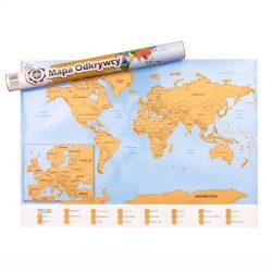 Mapa odkrywcy podróżnika mapa świata zdrapka gdzie już byłeś opisy ciekawych miejsc wskazówki