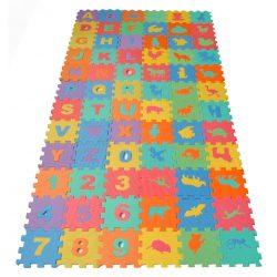 Puzzle piankowe dla dzieci 72 elementy literki cyferki kolorowe zwierzątka edukacyjne