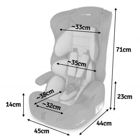 Fotelik samochodowy 9-36kg zdejmowane oparcie 3 kolory dwustronna wkładka dla dzieci