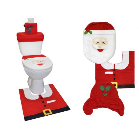 Zestaw świąteczny do łazienki dywanik pokrowiec na deskę zbiornik WC Mikołaj