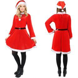 Kostium damski strój sukienka pasek czapka Pani Mikołajowa śnieżynka