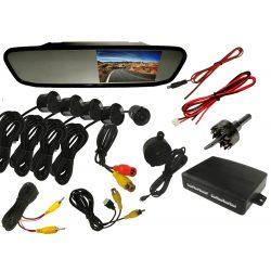 System parkowania video z kamerą monitorem LCD 4,3 cala w lusterku i czujnikami parkowania