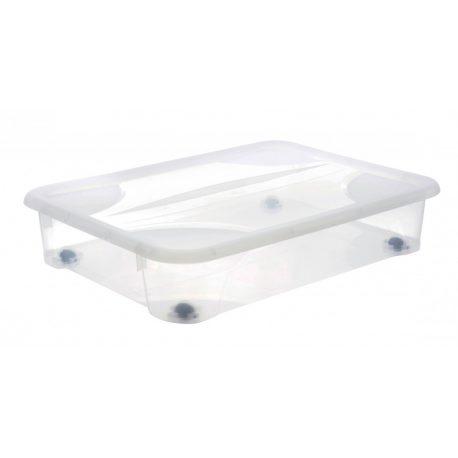 Skrzynia pod łóżko 60L na kółkach płaski pojemnik plastikowy zamykany na zabawki ubrania