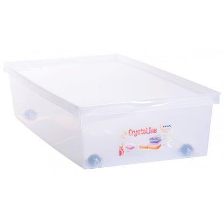 Skrzynia pod łóżko 33L na kółkach płaski pojemnik plastikowy zamykany na zabawki ubrania