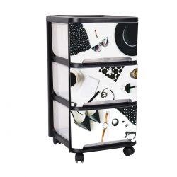 Organizer plastikowa szafka na kółkach 3 duże szuflady GIRLS