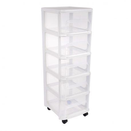 Organizer plastikowy szafka na kółkach 5 dużych szuflad
