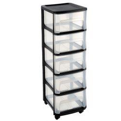Organizer plastikowy szafka na kółkach 5 dużych szuflad z czarnymi elementami
