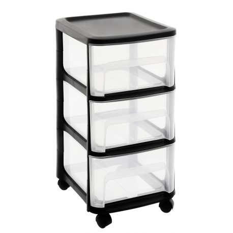 Organizer plastikowy szafka na kółkach 3 duże szuflady z czarnymi elementami