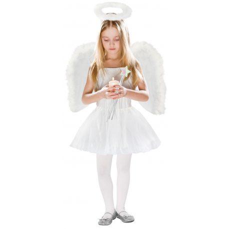 Strój aniołka skrzydła anioła jasełka zestaw różdżka auerola spódniczka