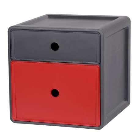 Szafka modułowa z polipropylenu 2 szuflady czerwień antracyt