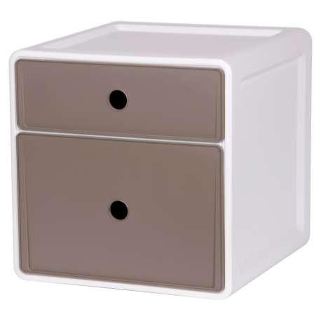 Szafka modułowa z polipropylenu 2 szuflady różnej wysokości szary
