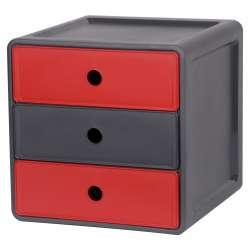 Szafka modułowa z polipropylenu 3 szuflady takie same czerwony z antracyt