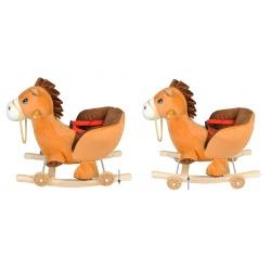 Bujak konik na kółkach jeżdzik koń na biegunach 2w1 gra melodyjkę