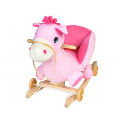 Bujak konik na kółkach jeżdzik różowy koń na biegunach 2w1 gra melodyjkę