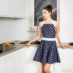 Nitly Dot fartuszek kuchenny wyprofilowany jak sukienka w groszki plamoodporny