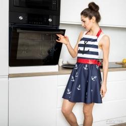 Nitly Marine fartuszek kuchenny wyprofilowany jak sukienka marynarski wzór