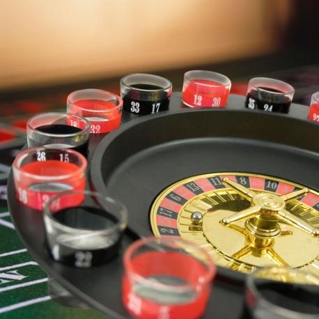Imprezowa ruletka czarna rozkręć imprezę ruletka z numerami umieszczonymi na kieliszkach
