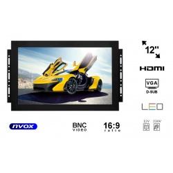 Monitor do zabudowy OPEN FRAME matryca 12 cali VGA HDMI USB BNC