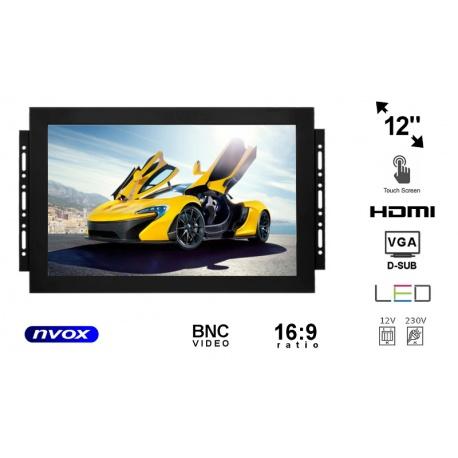 Monitor dotykowy OPEN FRAME do zabudowy marki NVOX matryca 12 cali VGA HDMI USB BNC