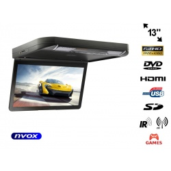 Podwieszany monitor samochodowy z matrycą LED o przekątnej 13 cali NVOX napęd DVD USB SD wejścia AV