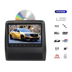 Przenośny odtwarzacz DVD montowany na zagłówku NVOX 9 cali LED SD USB transmiter IR FM