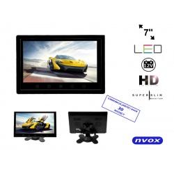 Monitor samochodowy HD LCD przekątna 7 cali NVOX ramka do montażu w zagłówku nadajnik IR