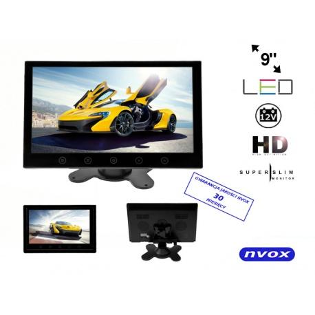 Monitor samochodowy HD LED przekątna 9 cali NVOX nadajnik IR dotykowe przyciski dwa wejścia AV