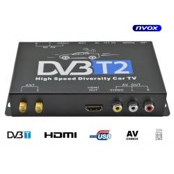 Samochodowy tuner naziemnej telewizji cyfrowej DVB-T/T2 marki NVOX obsługa MPEG-4 HD