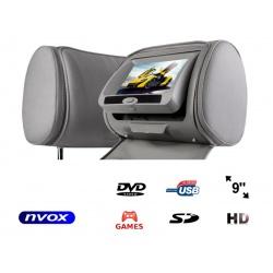 Zagłówek multimedialny NVOX ekran LCD 9 cali napęd DVD czytnik SD/USB nadajnik IR/FM