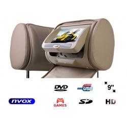 Zagłówek samochodowy z ekran 9 cali napęd DVD czytnik SD USB nadajnik IR/FM