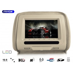 Zagłówek samochodowy marki NVOX z ekranem LCD o przekątnej 7 cali odtwarzacz plików multimedialnych złącze SD USB FM IR