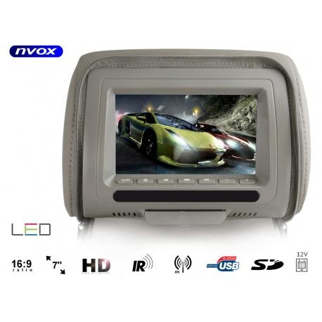 Zagłówek samochodowy marki NVOX z ekranem LCD o przekątnej 7 cali odtwarzacz plików multimedialnych