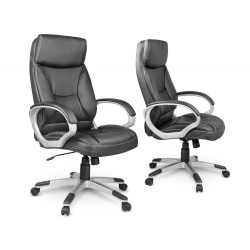Fotel biurowy miękkie wysokie oparcie podłokietniki obrotowy z ekoskóry zagłówek