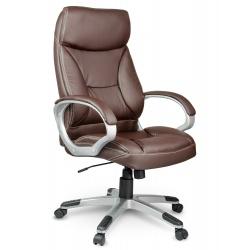 Fotel biurowy miękkie wysokie oparcie obrotowy z ekoskóry zagłówek brązowy czarny