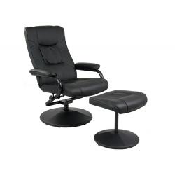 Fotel wypoczynkowy ekoskóry z podnóżkiem inspirowany fotelami lotniczymi