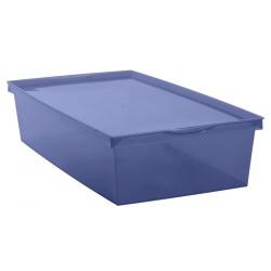Pojemnik plastikowy 6L EDA płaski pudełko zamykane na dokumenty Crystaline niebieski