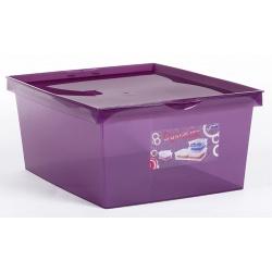 Pojemnik plastikowy 18L pudełko zamykany na dokumenty Crystaline niebieski fioletowy