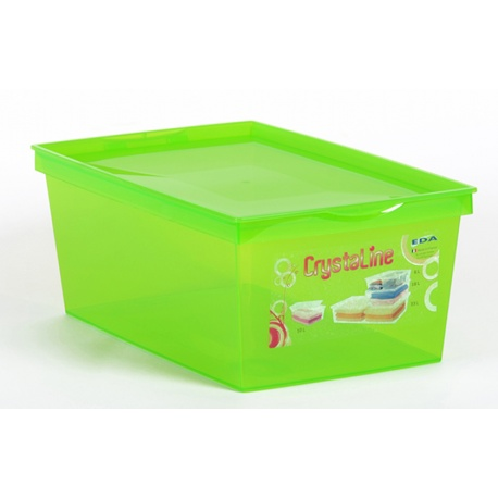 Pojemnik plastikowy 10L EDA pudełko zamykany na dokumenty Crystaline niebieski zielony