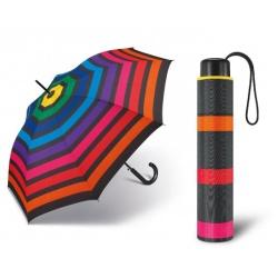 Mini parasol Tęcza w kolorowe paski manualny mechanizm otwierania pokrowiec