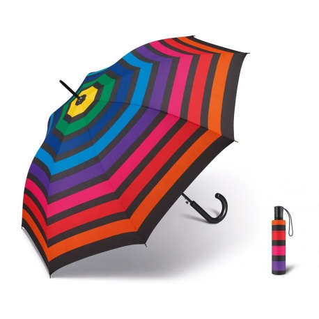 Mini parasol Tęcza w kolorowe paski automatyczny mechanizm otwierania i zamykania pokrowiec
