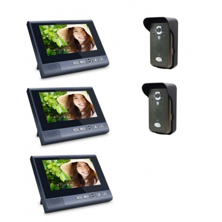 Videodomofon 3 panele LCD 7 cali 2 kamery czujnik ruchu interkom alarm antysabotażowy Reer Electronics