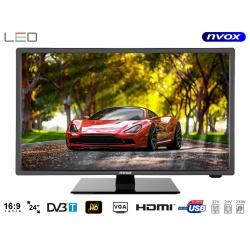 Telewizor LED o przekątnej 24 cali NVOX rozdzielczość FULL HD tuner DVB-T MPEG-4/2 wejście USB złącze HD
