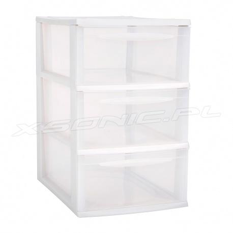 Organizer plastikowa szafka A4 modułowa 3 szuflady duże czarna lub biała na biurko lub półkę